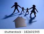 cut out paper figures of family ... | Shutterstock . vector #182601545