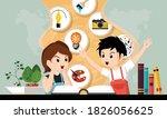 schoolkids openning book....   Shutterstock .eps vector #1826056625