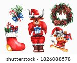 watercolor drawing christmas... | Shutterstock . vector #1826088578