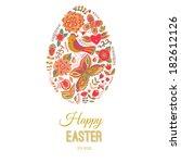 easter egg card floral easter... | Shutterstock .eps vector #182612126