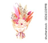 watercolor floral bouquet with... | Shutterstock . vector #1826133998