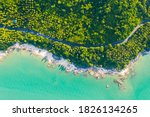 High angle view of  road pass through coconut tree forest and beautiful coastline in Khanom, Nakhon si thammarat, Thailand