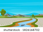 asian rice field paddy...   Shutterstock .eps vector #1826168702