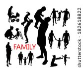 silhouettes of family and...   Shutterstock .eps vector #182618822