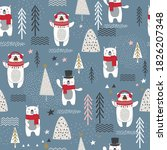 seamless pattern with bear ... | Shutterstock .eps vector #1826207348