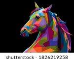 colorful illustration horses in ... | Shutterstock .eps vector #1826219258