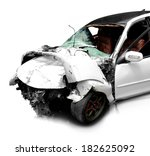 white car in an accident... | Shutterstock . vector #182625092