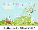 spring field with bunny hunting ...   Shutterstock .eps vector #1826253422