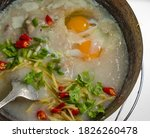 Congee With Eggs  Minced Pork ...