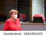 Small photo of German Chancellor Angela Merkel arrives for the second day meeting of the European Union (EU) special summit in Brussels, Belgium, on Oct. 2, 2020.