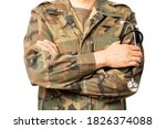 Closeup Of A Military Doctor...
