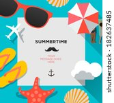 summertime traveling template... | Shutterstock .eps vector #182637485