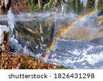 Rainbow Near The Waterfall In...