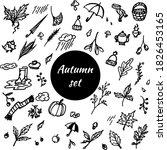 set of autumn black and white... | Shutterstock .eps vector #1826453165