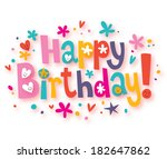 happy birthday text | Shutterstock . vector #182647862