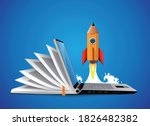 computer as book knowledge base ... | Shutterstock .eps vector #1826482382