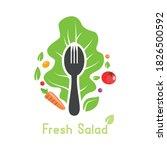 fork with salad vegetable... | Shutterstock .eps vector #1826500592
