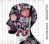 human head with drawings and... | Shutterstock . vector #182656742