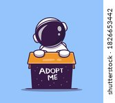 cute astronaut in box cartoon... | Shutterstock .eps vector #1826653442