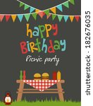 picnic party | Shutterstock .eps vector #182676035