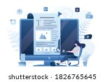 blogger at workplace. female...   Shutterstock .eps vector #1826765645