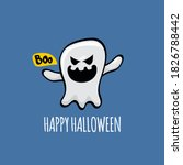 cartoon cute ghost isolated on...   Shutterstock .eps vector #1826788442