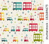vector seamless pattern of cars.... | Shutterstock .eps vector #182684675