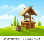landscape with old wooden well...   Shutterstock . vector #1826887115