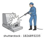 a man cleaning a grave stone. | Shutterstock .eps vector #1826893235