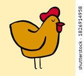 cartoon cute adorable chicken....   Shutterstock .eps vector #1826914958