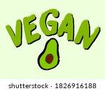 vegan typography with doodle...   Shutterstock .eps vector #1826916188