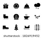 winter black vector icons...