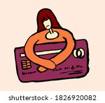 tired sad woman with a huge...   Shutterstock .eps vector #1826920082