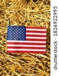 American Flag With Straw...