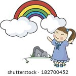 girl enjoying rainbow | Shutterstock . vector #182700452