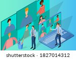 online video conference.concept ...   Shutterstock .eps vector #1827014312