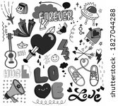 love doodle drawing collection... | Shutterstock . vector #1827044288