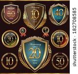 anniversary shield and laurel... | Shutterstock .eps vector #182708585