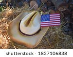 Straw Cowboy Hat And American...