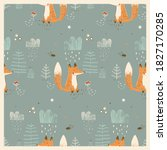 seamless pattern with cute fox... | Shutterstock .eps vector #1827170285