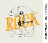 da vinci man playing rock... | Shutterstock .eps vector #1827196052
