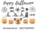 watercolor halloween set with...   Shutterstock . vector #1827204905