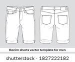 denim short vector template for ... | Shutterstock .eps vector #1827222182