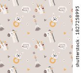 bohemian seamless pattern with... | Shutterstock .eps vector #1827258995