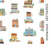 seamless pattern with city... | Shutterstock .eps vector #1827262022