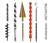 vector realistic drill bits and ... | Shutterstock .eps vector #1827264758