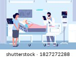 sad woman in hospital.... | Shutterstock .eps vector #1827272288