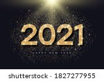 2021 number with golden glitter ... | Shutterstock .eps vector #1827277955