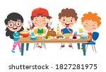 little children eating healthy... | Shutterstock .eps vector #1827281975