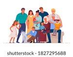 portrait of big happy family of ... | Shutterstock .eps vector #1827295688